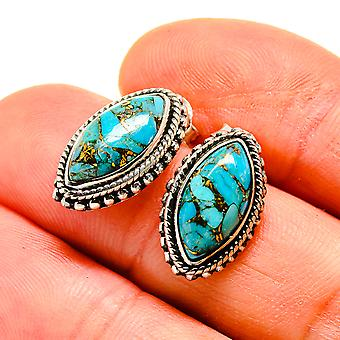 "Blue Copper Composite Turquoise Earrings 3/4"" (925 Sterling Silver)  - Handmade Boho Vintage Jewelry EARR411039"