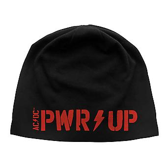 AC/DC Beanie Hat PWR UP Band Logo nytt officiellt svart jerseytryck