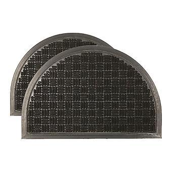 2x esteras de puerta de servicio pesado goma espalda al aire libre esteras de bienvenida 60 x 40cm negro
