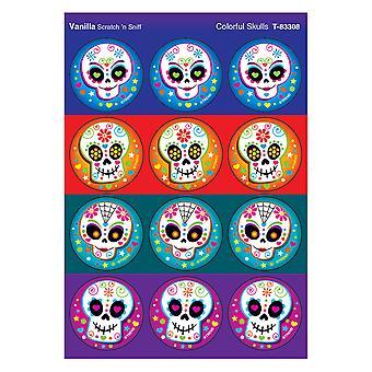 Crânes colorés/autocollants puants à la vanille, 48 comtes