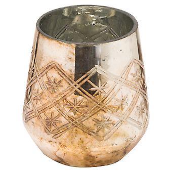 The Noel Collection Glass Burnished Tea Light Holder
