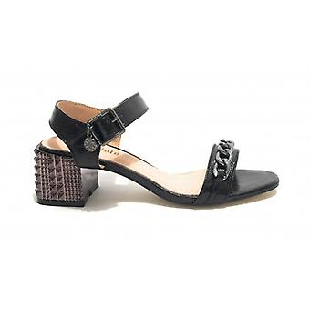 Women's Gold&gold Sandal Tc 55 Black Faux Leather With Chain/ Studs - Leather Inpide Ds19gg66