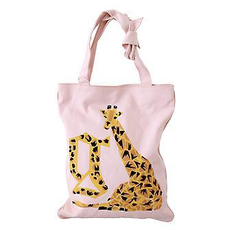 John Galliano Pink Giraffe Women Borse Logo Shopping Tote Canvas bag