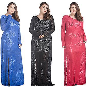 Dámske čipkové maxi šaty v-neck s plným rukávom lemované večerné párty pevné dlhé plus veľkosť