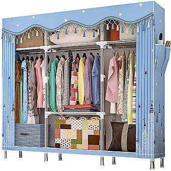 FengChun Extra groer Kleiderschrank Stoffschrank mit Fchern und 2 Seitentasche, Textil Garderobe