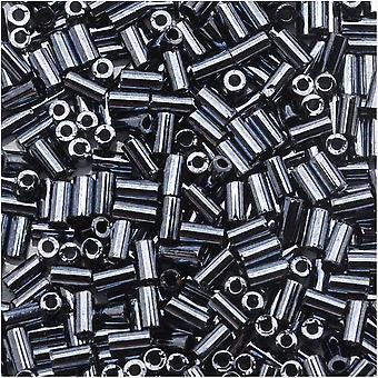 Toho Bugle Tube Perline Dimensioni #1 / 2x3mm Ematite Metallica 8 Grammi