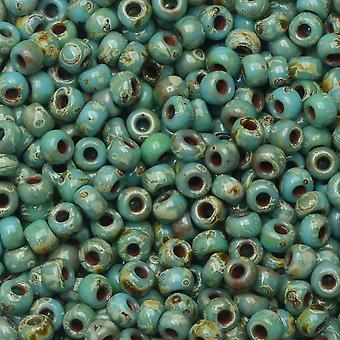 Miyuki ronde rocailles, 8/0, 22 gram buis, #94514 Picasso zeeschuim groene matte