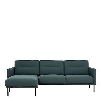 Vickie Chaiselongue Sofa (Lh) - Dark Green Black Legs