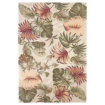 3' x 5' Beige Palm Leaves Wool Indoor Area Rug