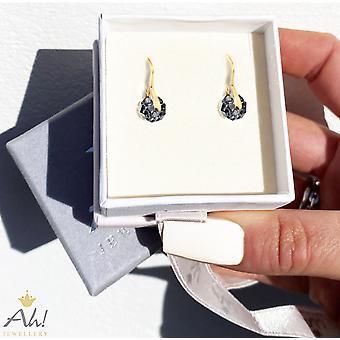 Ah! Jewellery Silver Night Crystals From Swarovski Briolette Earrings- Gold