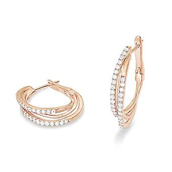 love Women's hoop earrings, 3 cm, in sterling silver 925 plated rose gold, with white zircons