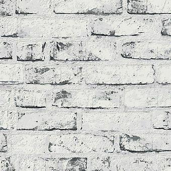 New England rustik tegel tapet vit som skapelse 9078-37