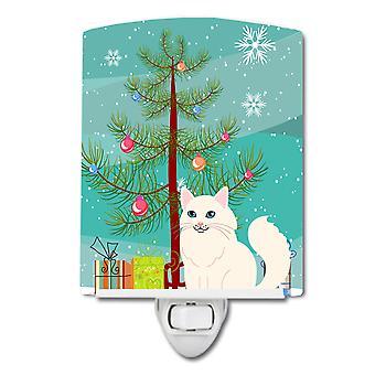 Caroline Schätze türkische Angora Katze Frohe Weihnachtsbaum Keramik Nachtlicht, 6 x 4, multicolor