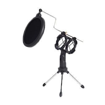 Retail Microphone Tripod Mic Shock Mount Stand Desktop Bracket Holder With