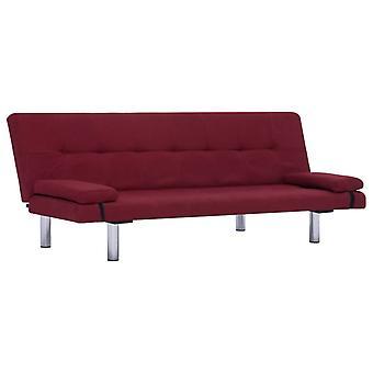 sofá cama vidaXL con dos almohadas de poliéster burdeos