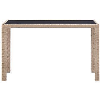 vidaXL Puutarhapöytä Beige 123 x 60 x 74 cm Poly Rattan
