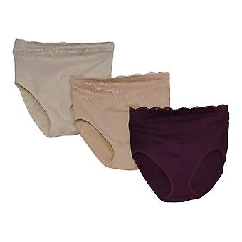 Rhonda Shear Panties 3-pack Ahh Panty with Lace Overlay Beige 679962