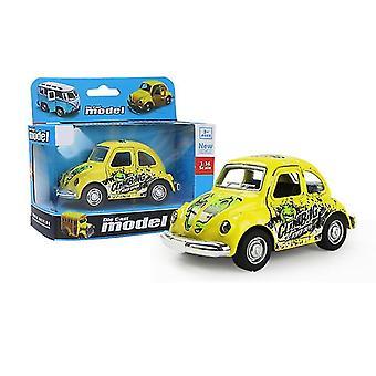 خنفساء سيارة صغيرة صفراء سحب سيارة انزلاق سبيكة، نموذج سيارة محاكاة مع يمكن فتح الباب az9090