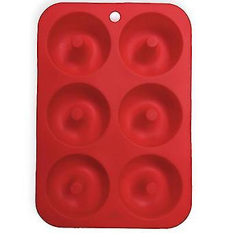 Red silicone donut mold for 6 full-size donutsbagels and more x7444