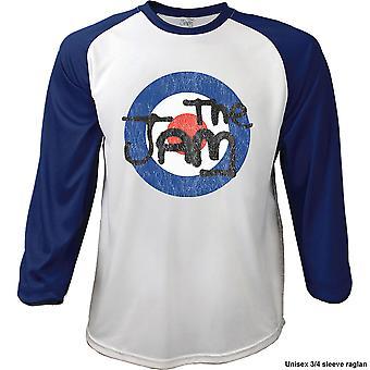 The Jam - Target Logo Distressed Men's Large Raglan T-Shirt - Navy Blue, White