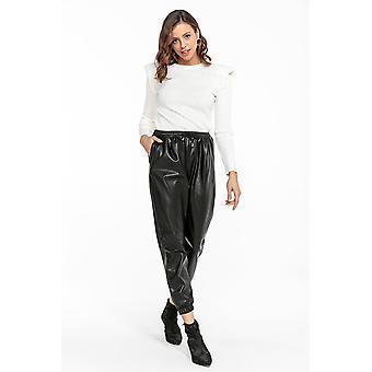 Shine naisten laskostettu musta nahka näyttää housut