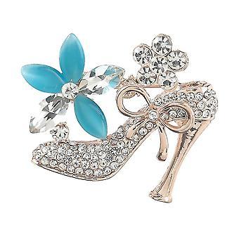Elegante Mädchen Brosche High Heels mit Blumen Corsage Diamant eingelegt Brosche Pin
