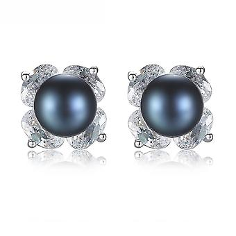 Ear Studs Black Flower S925 Inlaid Zirconium Black Pearl For Daily Use