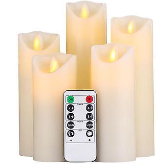 5 st flamlösa ljus, batteriljus, flimrande ljus med fjärrkontroll