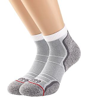 1000 Mile Mens Run Anklet Sock   Twin Pack   Grey White