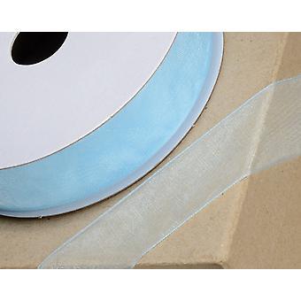 25m Baby Blue 10mm Bred Vävd Edge Organza Band för hantverk