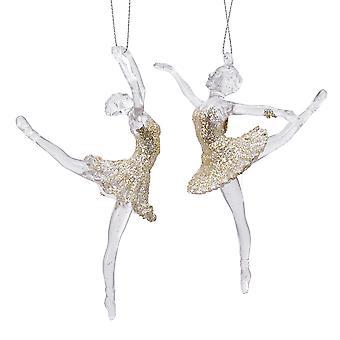 Single 15cm Champagne Gold Ballerina Ballet Resin Hanging Ornament