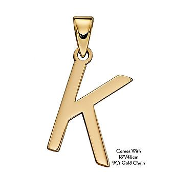 "HS Johnson HSJ-GP2210 Women's 9ct Gold ""K"" Pendant With Chain"