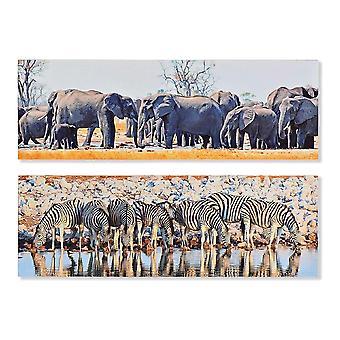 Schilderij DKD Home Decor dieren Koloniaal 90 x 1,8 x 30 cm (2 stuks)
