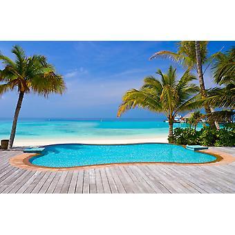 Veggmaleri basseng på en tropisk strand