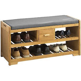 SoBuy Bamboo 2 niveles zapato rack banco con cojín de asiento, FSR75-N