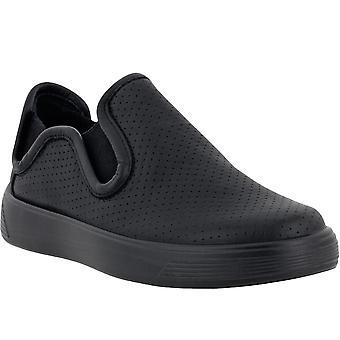 ECCO Kids Childrens Street 1 Leather Elasticated Slip On Pumps Shoes - Black