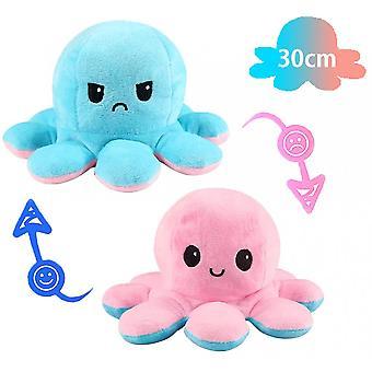 30cm iso käännettävä mustekala täytetty eläin käännettävä onnellinen surullinen mustekala pehma lelu vaaleanpunainen ja sininen, näytä mielialasi sanomatta sanaakaan!