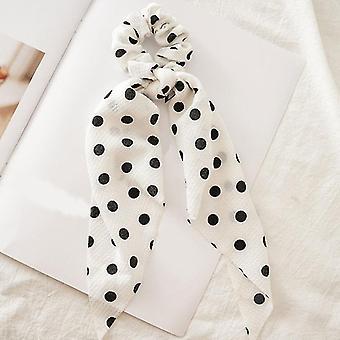 Polka Dot/floral Print Elastic Bow Design-hair Rubber Bands
