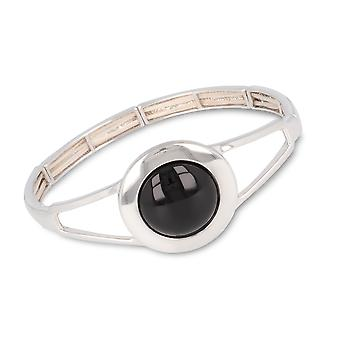 ADEN 925 Sterling Silver Onyx Ronde vorm Armband (id 4447)