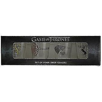 Video game consoles game of thrones shot glass set: stark  baratheon  targaryen and lannister