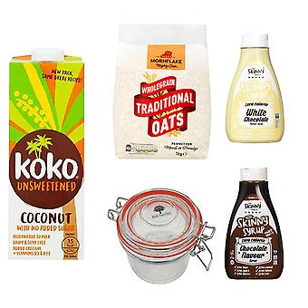 Breakfast Kit Seven Trees Farm   Glass Jar 350ml, 2 x Coconut Milk Dairy Free Unsweetened 1L, Traditional Oats 1kg and 1 x Chocolate Syrup, 1 x White Chocolate Syrup Free Sugar
