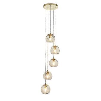 Endon Dimple Modern Cluster 5 Lampada Pendente Ottone Spazzolato, Champagne Vetro Paralume