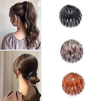 Pinces à cheveux Extensibles Ponytail Holders Hair Ties Birdnest Hair Clip (3 couleurs)