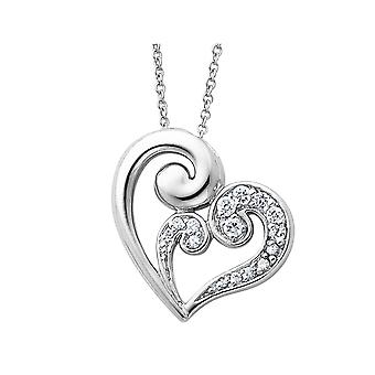 A Mothers Journey Heart Pendant Necklace in Sterling Silver with Chain