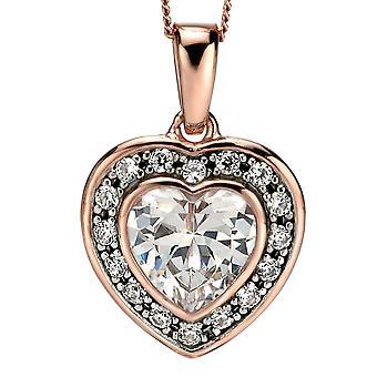 925 zilveren Rose verguld en zirkonium ketting