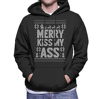Vrolijk kus die mijn kont kerst brei patroon mannen de Hooded Sweatshirt