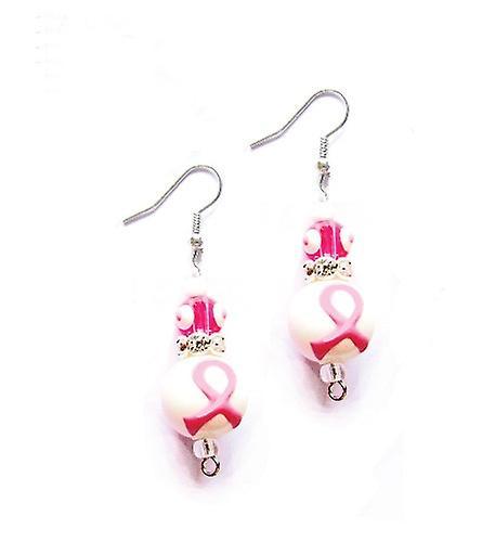 Think Pink Breast Cancer Rhinestone Glass Bead Kate and Macy Earrings