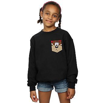 Looney Tunes filles diable de Tasmanie Face fausse poche Sweatshirt