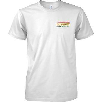 Efecto de bandera de Hungría Grunge país nombre - niños pecho diseño camiseta