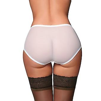 Nylon Dreams NDBSK Women's Betty Sheer White Solid Colour Knickers Panty Full Brief